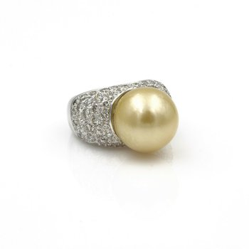 PLATINUM 15 MM GOLDEN SOUTH SEA PEARL AND 3.50 CTW DIAMOND COCKTAIL RING #E-217