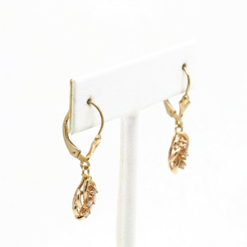 VINTAGE 14K YELLOW GOLD BRILLIANT ROUND DIAMOND DROP EARRINGS LEVERBACK #JB63-8