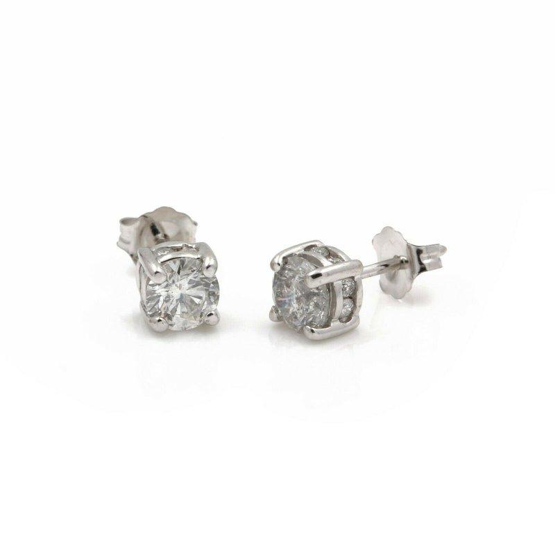 National Rarities 14K WHITE GOLD FOUR PRONG SET ROUND BRILLIANT CUT DIAMOND STUD EARRINGS #J1744-1