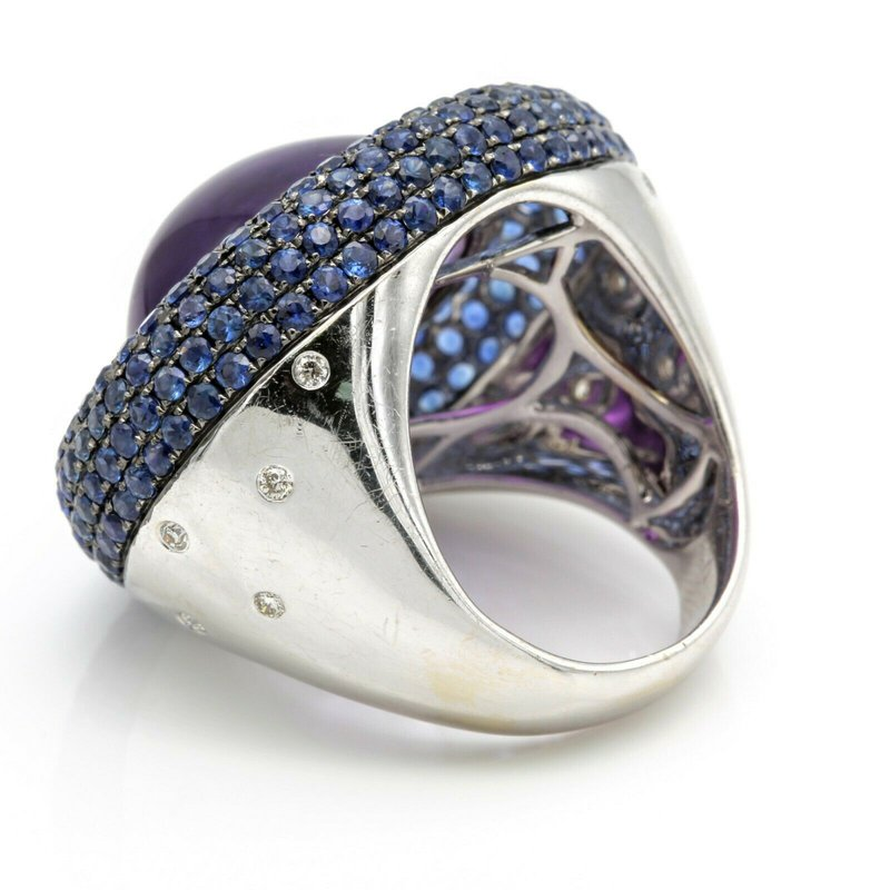 Unbranded 18K WG 21 CARAT OVAL AMETHYST WITH ROUND SAPPHIRES AND DIAMOND RING NR #J1418-1