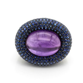 18K WG 21 CARAT OVAL AMETHYST WITH ROUND SAPPHIRES AND DIAMOND RING NR #J1418-1