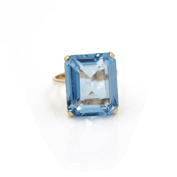 18K YELLOW GOLD 20.4 CT EMERALD CUT BLUE SPINEL SIZE 7.5 STATEMENT RING #JB46-1