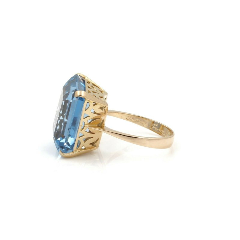 National Rarities 18K YELLOW GOLD 20.4 CT EMERALD CUT BLUE SPINEL SIZE 7.5 STATEMENT RING #JB46-1