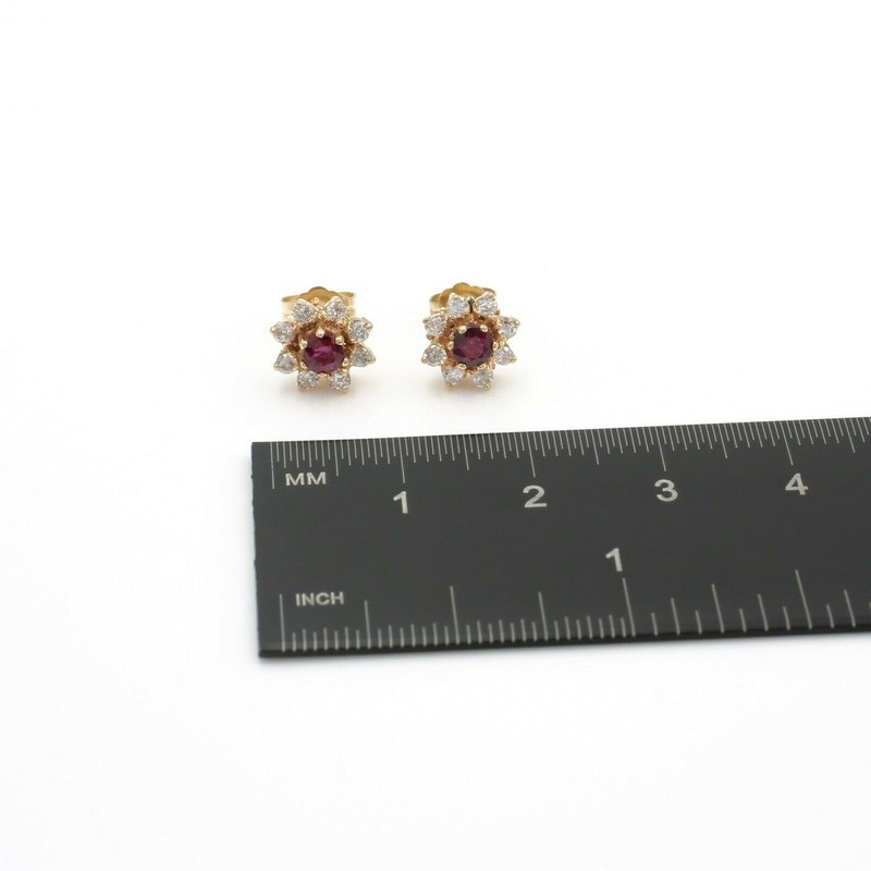 National Rarities 14K SOLID GOLD ROUND BRILLIANT RUBY AND DIAMOND CLUSTER EARRINGS 1.24 CTW J1-3