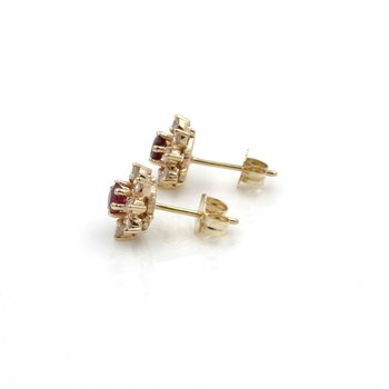 14K SOLID GOLD ROUND BRILLIANT RUBY AND DIAMOND CLUSTER EARRINGS 1.24 CTW J1-3