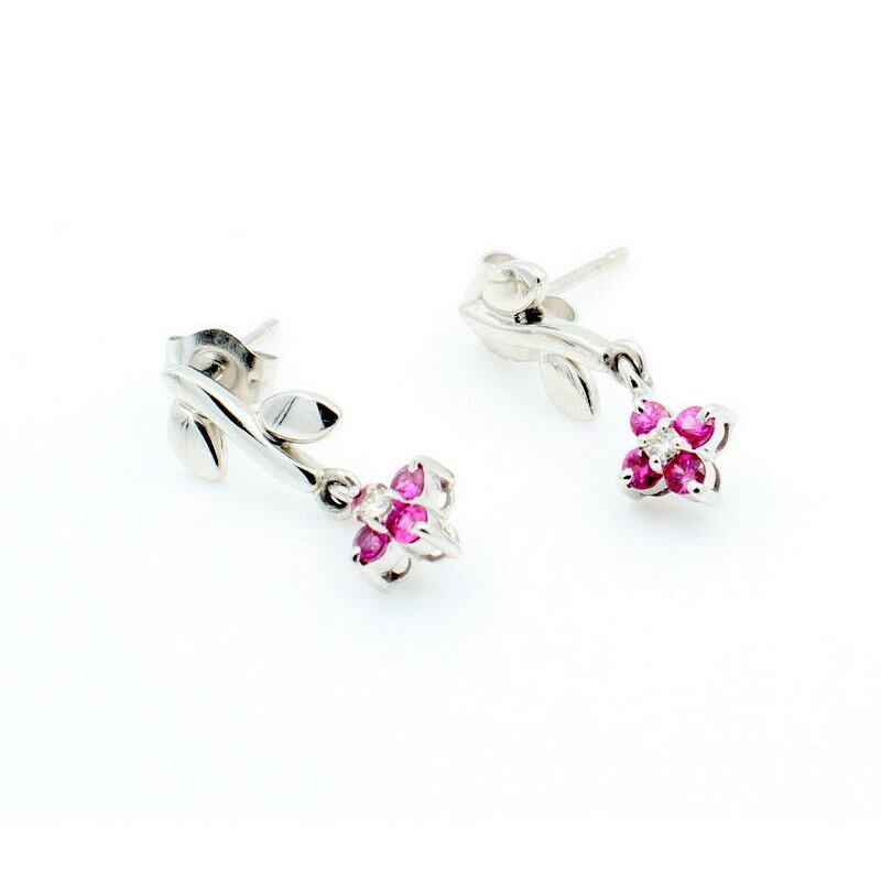 National Rarities BEAUTIFUL 14K WHITE GOLD .19CTW RUBY & DIAMOND DROP FLOWER EARRINGS #J7-1