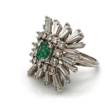 14K ESTATE EMERALD COCKTAIL RING DIAMOND BAGUETTE ROUND ACCENTS 5.4 CTW 1105B-8