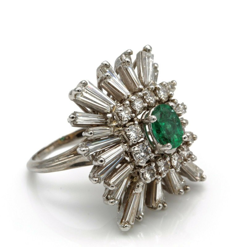 National Rarities 14K ESTATE EMERALD COCKTAIL RING DIAMOND BAGUETTE ROUND ACCENTS 5.4 CTW 1105B-8