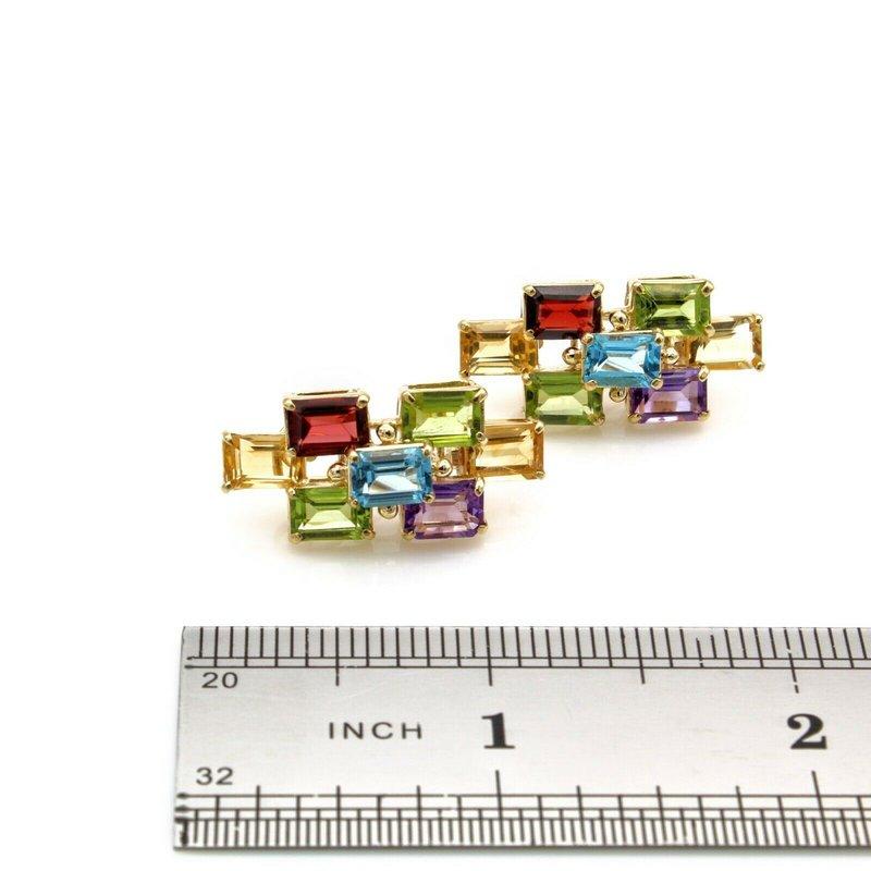 National Rarities 14K SOLID GOLD CITRINE AMETHYST PERIDOT TOPAZ GARNET CHUNKY STUD EARRINGS#JB35-1