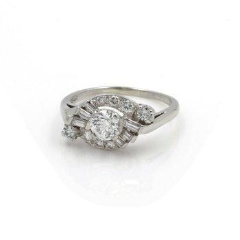 RETRO PLATINUM EARLY ROUND BRILLIANT CUT DIAMOND BAGUETTE RING SIZE 8.5 #J2808-2