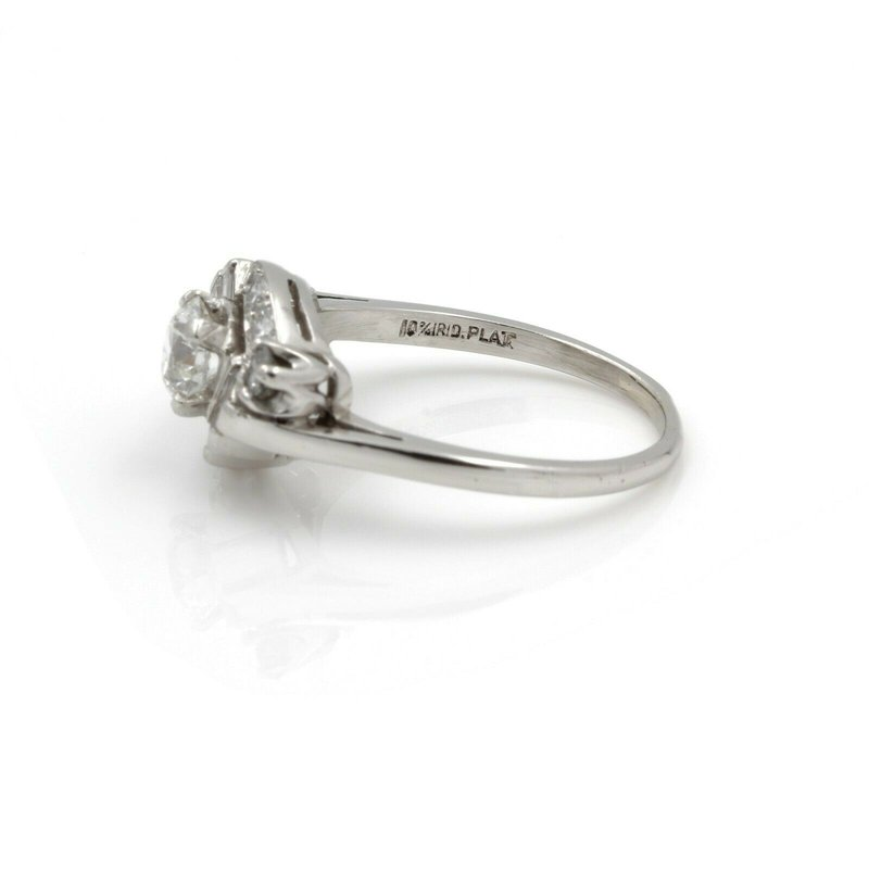 National Rarities RETRO PLATINUM EARLY ROUND BRILLIANT CUT DIAMOND BAGUETTE RING SIZE 8.5 #J2808-2