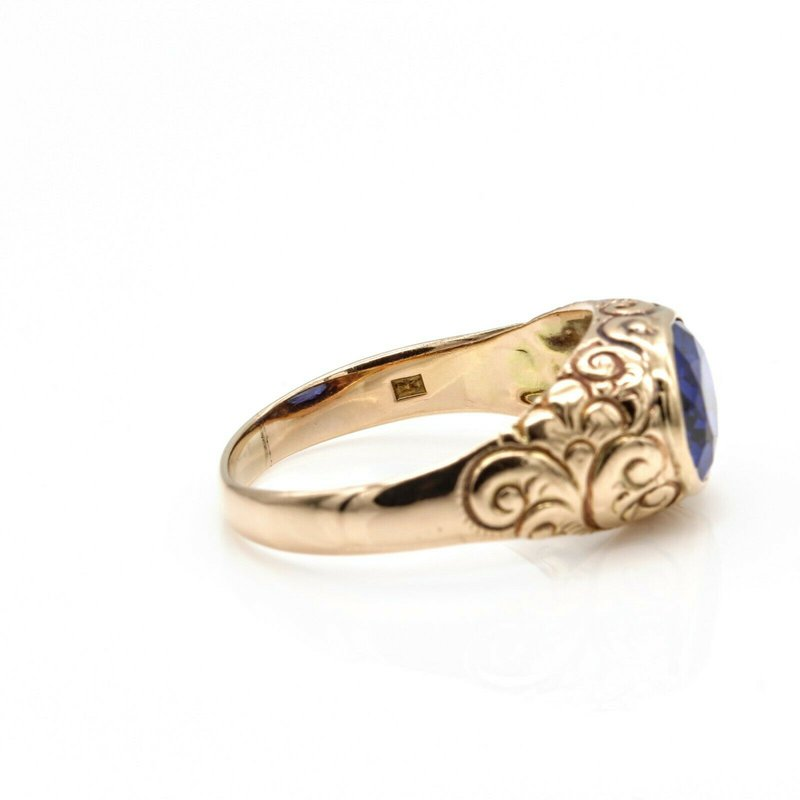 National Rarities VINTAGE 14K YELLOW GOLD 2.5 CT OVAL VIVID BLUE SAPPHIRE ENGRAVED RING #1016B-1