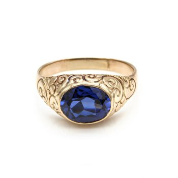 VINTAGE 14K YELLOW GOLD 2.5 CT OVAL VIVID BLUE SAPPHIRE ENGRAVED RING #1016B-1