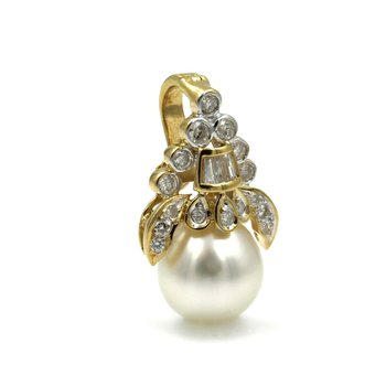 18K YELLOW GOLD ROUND SOUTH SEA PEARL BAGUETTE ROUND DIAMOND PENDANT #E153