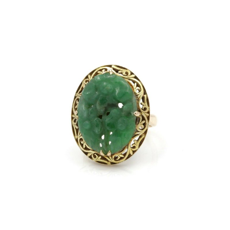 Unbranded 14K YELLOW GOLD CARVED OVAL GREEN JADEITE COCKTAIL RING SIZE 6 #JB39-2