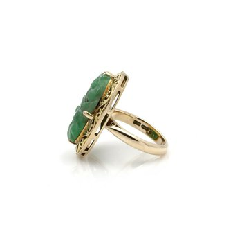 14K YELLOW GOLD CARVED OVAL GREEN JADEITE COCKTAIL RING SIZE 6 #JB39-2