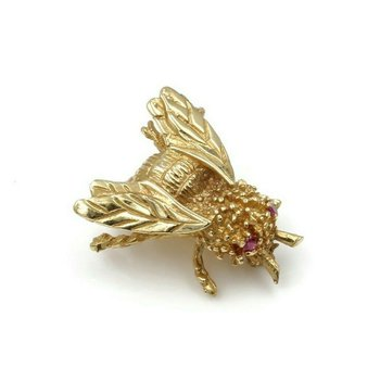14K YELLOW GOLD .05 CTW RUBY EYED HONEYBEE PETITE PIN NICELY DETAILED #973B-3