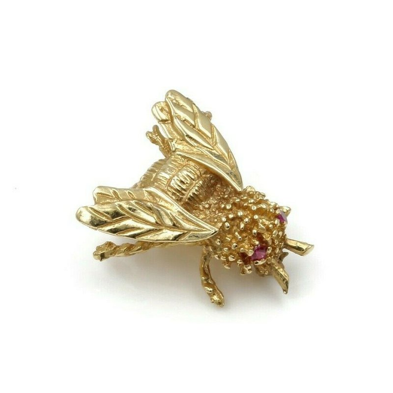 National Rarities 14K YELLOW GOLD .05 CTW RUBY EYED HONEYBEE PETITE PIN NICELY DETAILED #973B-3
