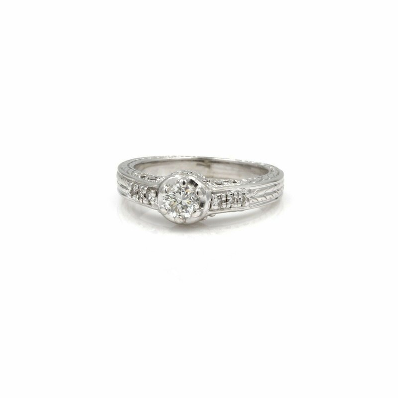 National Rarities VINTAGE 14K WHITE GOLD .45 CTW DIAMOND FILIGREE ENGAGEMENT RING S. 5.75 #1005B-5