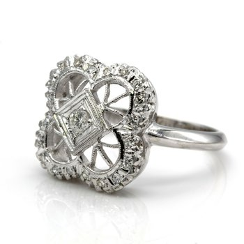 14K WHITE GOLD OPEN CLOVER HALO DIAMOND RING VINTAGE STYLE MILIGRAIN 1033B-10