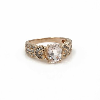 14K ROSE GOLD 2.33 CTW MORGANITE AND DIAMOND RING SIZE 7 #1004B-3