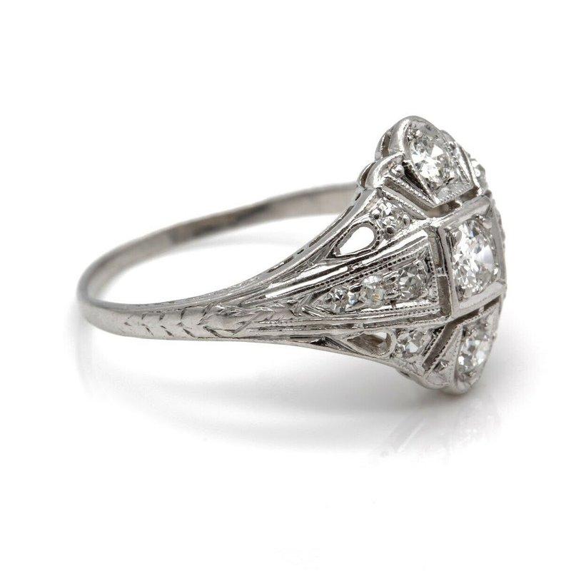 National Rarities PLATINUM ART DECO STYLE OLD EUROPEAN CUT DIAMOND RING 6.5 SIZE 0.42 CTW J2003-4