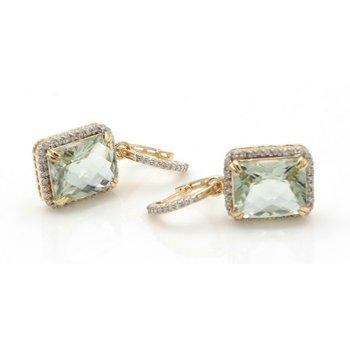 14K YELLOW GOLD SQUARE PRASIOLITE DIAMOND ACCENT DROP/DANGLE EARRINGS #JB30-9