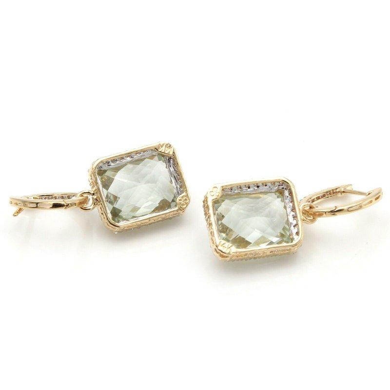 Unbranded 14K YELLOW GOLD SQUARE PRASIOLITE DIAMOND ACCENT DROP/DANGLE EARRINGS #JB30-9