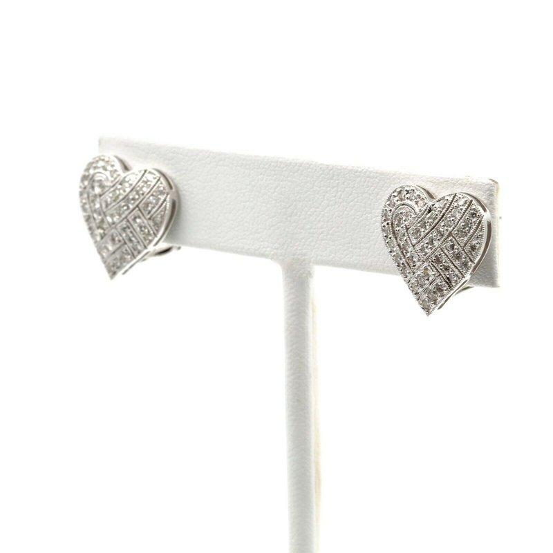 National Rarities 18K WHITE GOLD 0.38 CTW DIAMOND WOVEN HEART CLUSTER EARRINGS #1014B-8