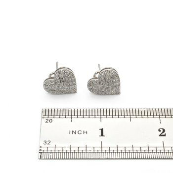 18K WHITE GOLD 0.38 CTW DIAMOND WOVEN HEART CLUSTER EARRINGS #1014B-8