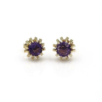 14K YELLOW GOLD ROUND AMETHYST 1.5CTW RETRO STUD SOLITARE EARRINGS #1032B-9