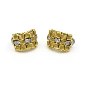 ROBERTO COIN APPASSIONATA 18K GOLD .54 CTW DIAMOND OMEGA POST EARRINGS #E-140