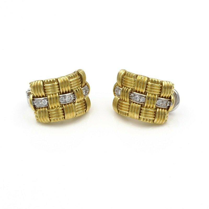 Roberto Coin ROBERTO COIN APPASSIONATA 18K GOLD .54 CTW DIAMOND OMEGA POST EARRINGS #E-140