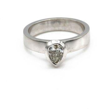 STUNNING 14K WHITE GOLD BEZEL-SET SOLITAIRE 0.45 CTW PEAR DIAMOND RING 1089B-3