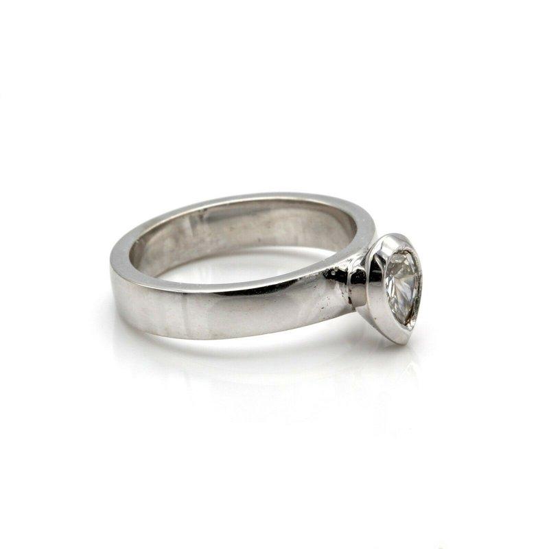 National Rarities STUNNING 14K WHITE GOLD BEZEL-SET SOLITAIRE 0.45 CTW PEAR DIAMOND RING 1089B-3