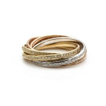 14K GOLD TRI-TONE ROLLING ROUND CUT DIAMOND ETERNITY BANDS 2.95CTW SIZE 6 #J8-1