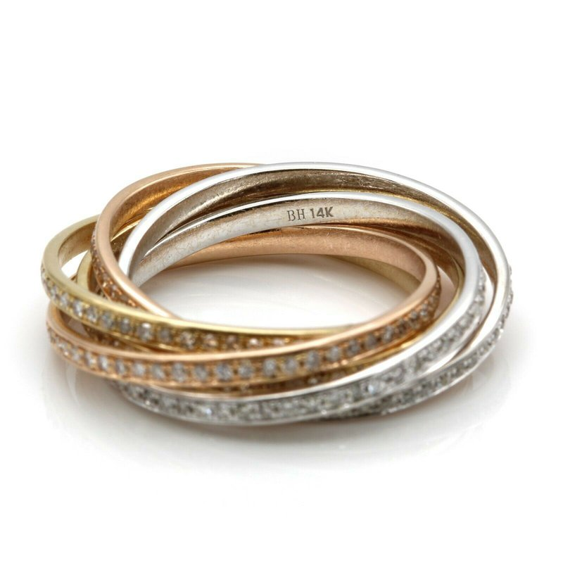 Bh 14K GOLD TRI-TONE ROLLING ROUND CUT DIAMOND ETERNITY BANDS 2.95CTW SIZE 6 #J8-1