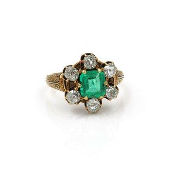 ANTIQUE 18K YELLOW GOLD 3.46 CTW OLD MINE DIAMOND EMERALD CUT EMERALD RING #E278