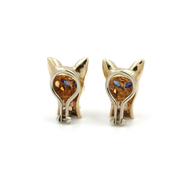 Estate RETRO 14K YELLOW GOLD 1.48 CTW SAPPHIRE CITRINE DIAMOND CAT HEAD EARRINGS E877-2