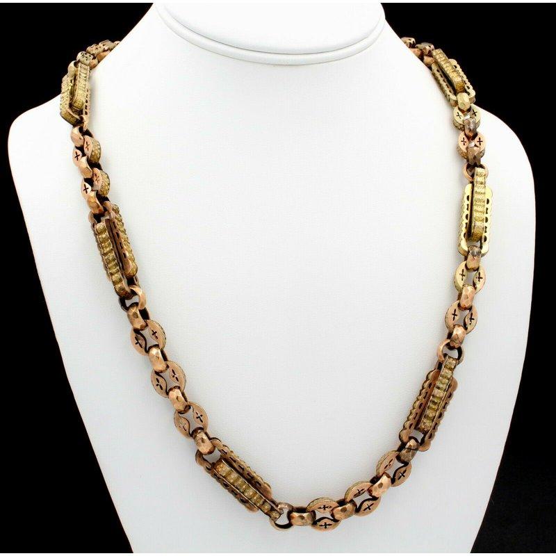 National Rarities ANTIQUE VICTORIAN 9K SOLID GOLD HANDMADE LINK NECKLACE UNIQUE MULTI TONE J461-3