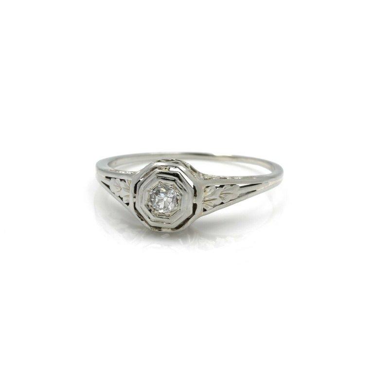 Antique ANTIQUE 18K WHITE GOLD OLD EUROPEAN DIAMOND SOLITAIRE RING .12CTW SIZE 5.75 J5-7