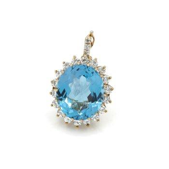 14K GOLD 19.43CTW OVAL SWISS BLUE TOPAZ & DIAMOND HALO HINGED BAIL PENDANT #E-52