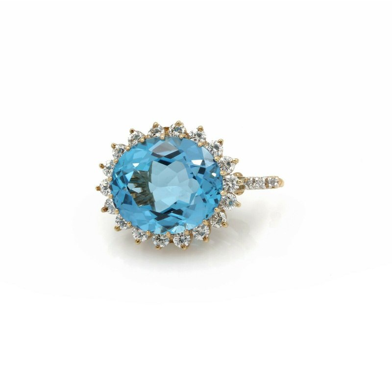 National Rarities 14K GOLD 19.43CTW OVAL SWISS BLUE TOPAZ & DIAMOND HALO HINGED BAIL PENDANT #E-52