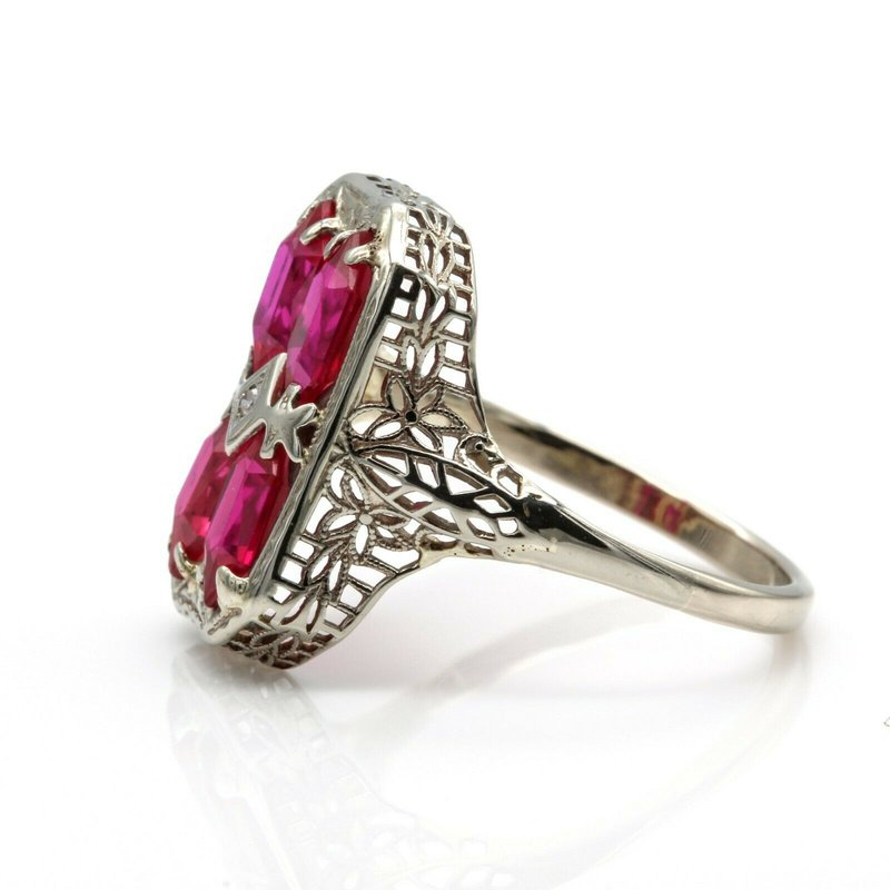 Ruby 14K WHITE GOLD VINTAGE FILIGREE DIAMOND & RUBY COCKTAIL RING SIZE 9.25 #1014B-6