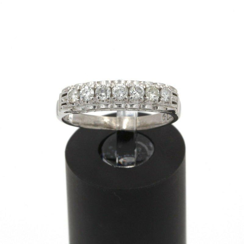 National Rarities VINTAGE 14K WHITE GOLD .40CTW DIAMOND SHARE SET ANNIVERSARY BAND S 7.25 JB43-7