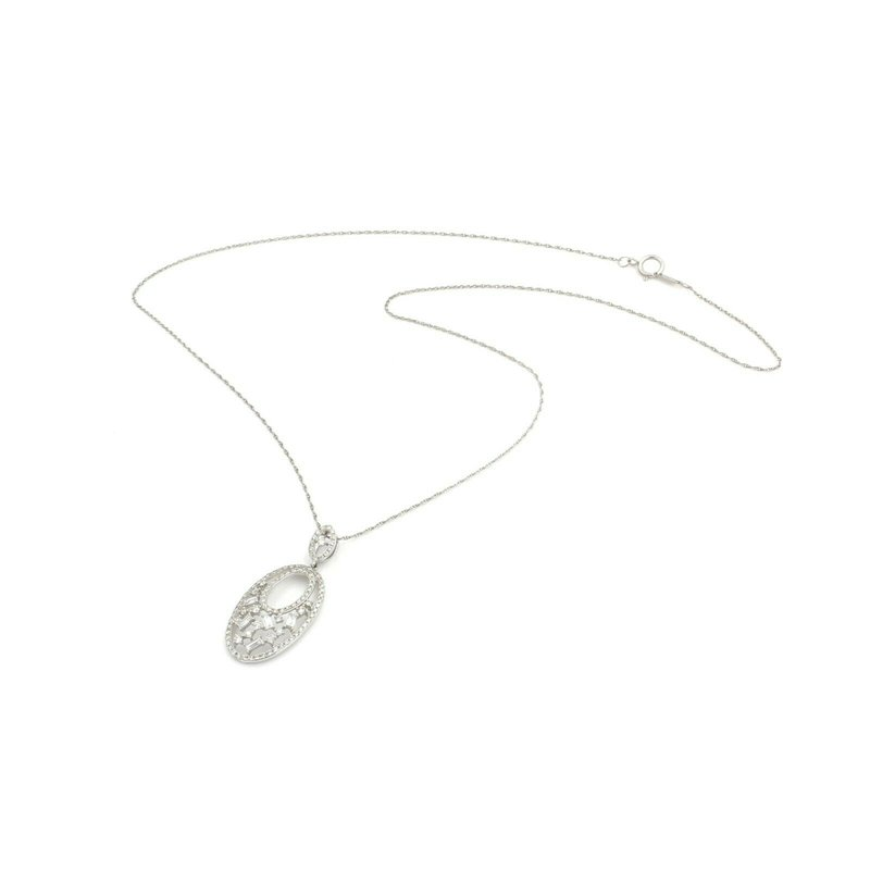 Unbranded 14K WHITE GOLD ROUND & BAGUETTE DIAMOND OVAL PENDANT 18 INCH NECKLACE #JB74-7
