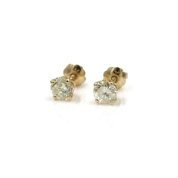 14K YELLOW GOLD .75 CTW ROUND BRILLIANT DIAMOND 4 PRONG STUD EARRINGS #1004B-6