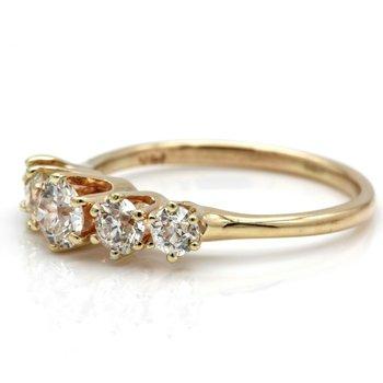 14K SOLID GOLD 1.00 CTW OLD EUROPEAN CUT DIAMOND RING SIZE 6.5 #JB35-9