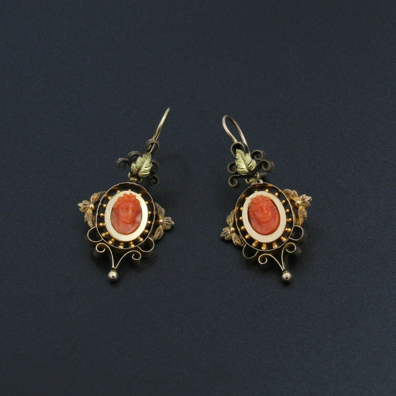 National Rarities VICTORIAN 14K YELLOW GOLD AND CARVED CORAL CAMEO DROP EARRINGS #998B-10