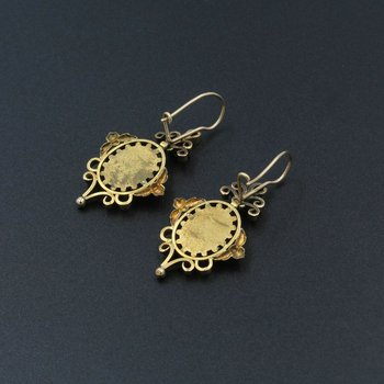 VICTORIAN 14K YELLOW GOLD AND CARVED CORAL CAMEO DROP EARRINGS #998B-10